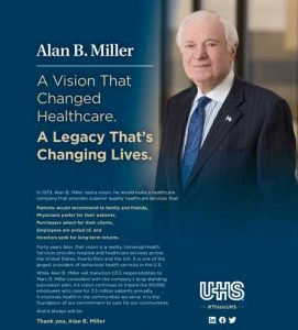Philadelphia Inquirer and Modern Healthcare honoring Alan B. Miller.
